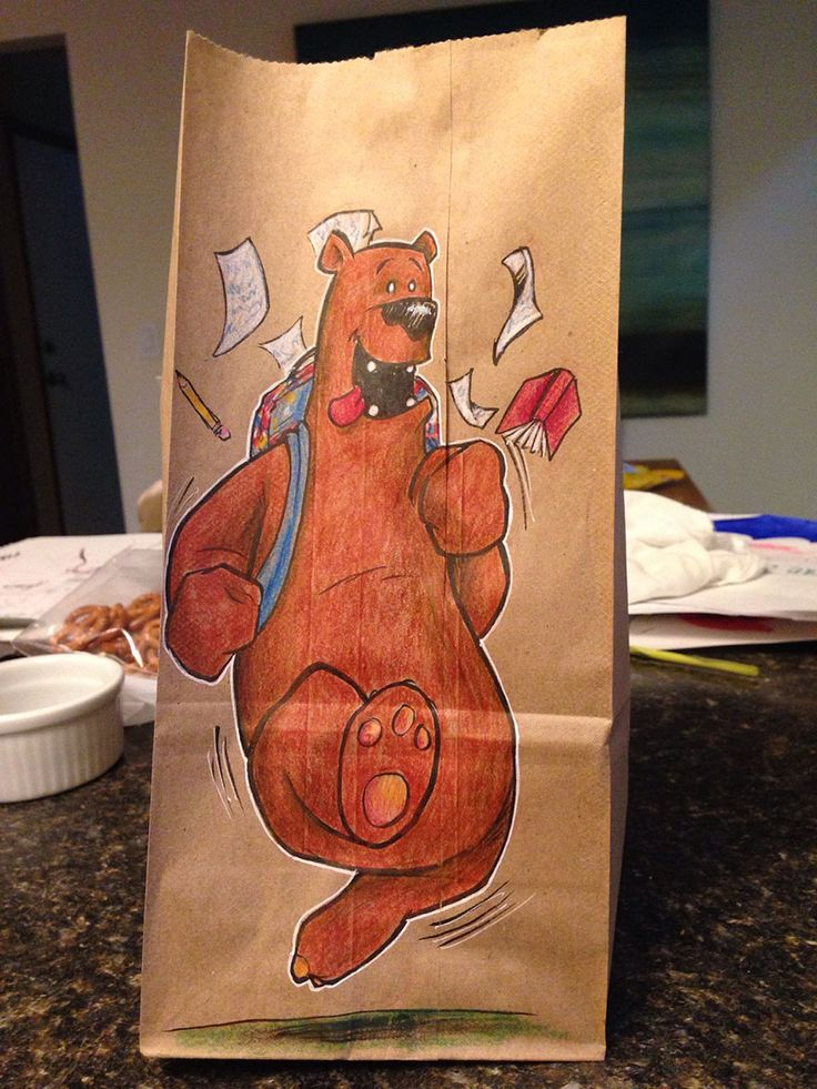 """Lunch Bags funny illustrations by Bryan Dunn [Dad drew Cool Cartoon Characters on his Son's Lunch Bags every day for the last 2 years] [""""I draw all the time, I decided his bags were good practice. Tough material to work on, and it would motivate me to keep doing something different every day,"""" he wrote.]"""