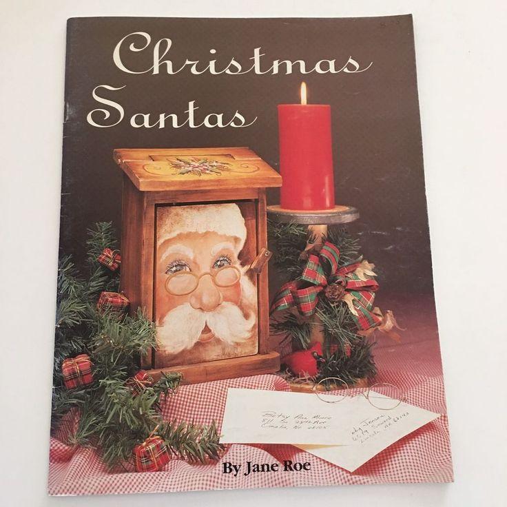 Christmas Santas Jane Roe Tole Decorative Painting Antiquing Wearable Art Hang #VikingFolkArt #DecorativePainting