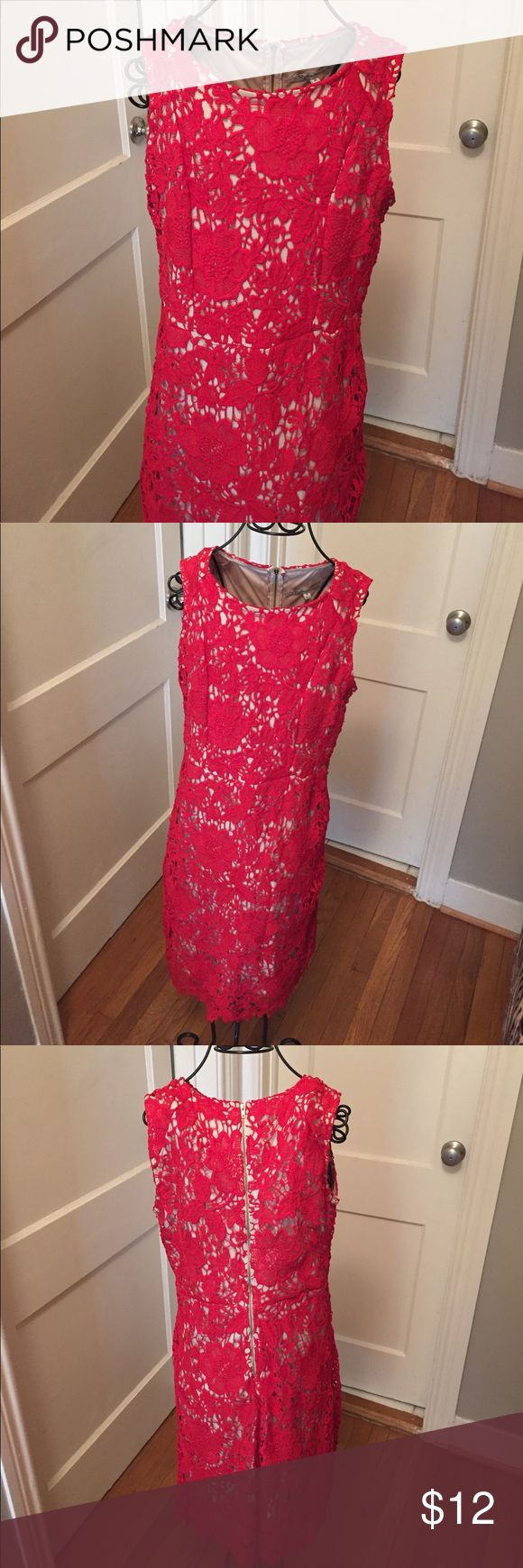 Red lace dress. Size M (fits 8) Red lace dress with beige lining under. Back gold zipper. Size M (fits an 8) Dresses Midi