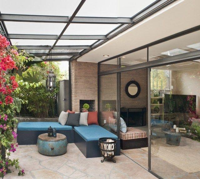 Aménagement terrasse avec auvent bois, plexiglas aluminium  Design ...