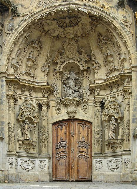 General setting of carved church door, San Sebastian, Spain