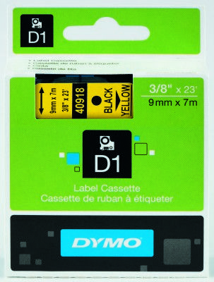 Dymo D1 Yedek Şerit, 9 Mm X 7 Mt, Sarı/ Siyah (40918)
