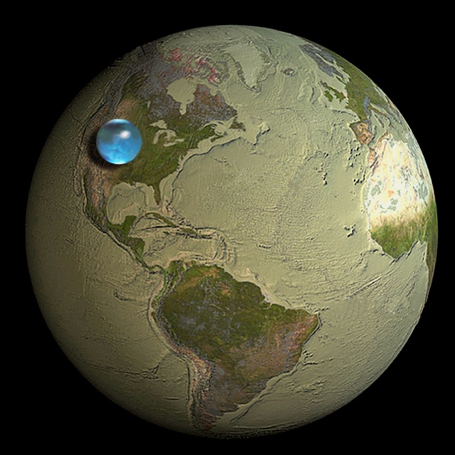 All the water in the worldSalts Lakes Cities, The Ocean, Tomatoes Plants, Blue Sphere, United States, Planets Earth, Water, Science, Earth Water