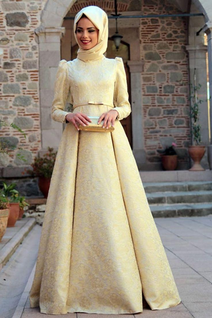 Mevra - Gold Brokar Elbise