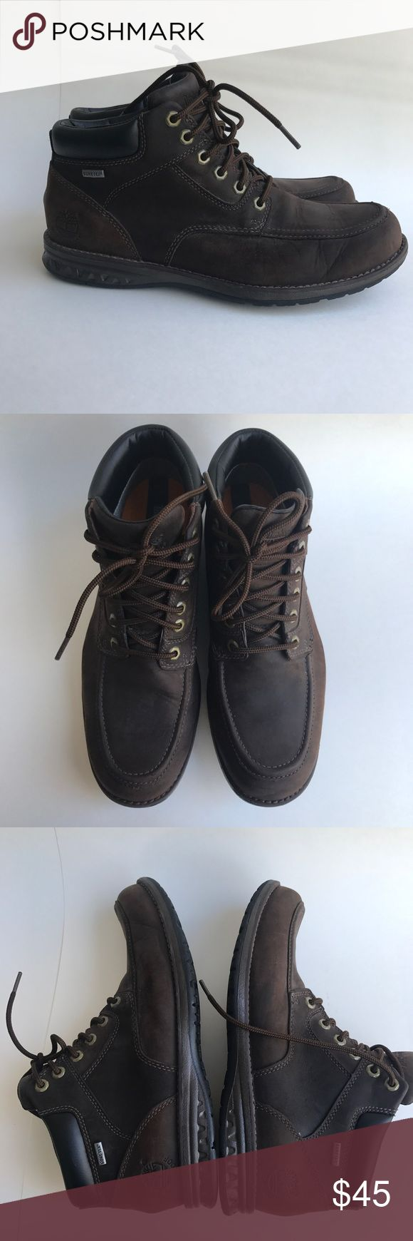 Timberland Men's Boots Brown Leather Gore Tex 9.5M In great condition, worn twice.  A few minor scuffs from normal wear as shown in pictures Timberland Shoes Chukka Boots