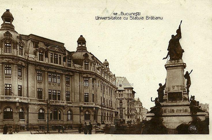 București. Universitatea și Statuia Brătianu.