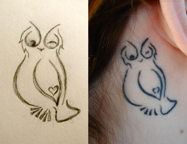 Behind the ear owl tattoo