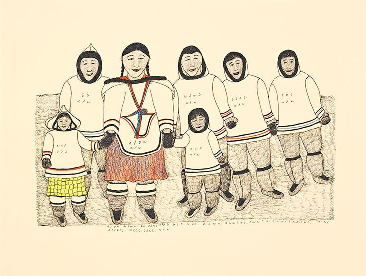 """Pitseolak's daughter Napachie Pootoogook, depicts herself here with a yellow skirt, her mother in an amauti, and her five brothers (left to right: Qaqaq, Kumwartok, Namoonie, Kiugak, and the youngest, Ottochie), soon after the death of her father, Ashoona. """"Napachie's Family,"""" 1998–99, Winnipeg Art Gallery."""