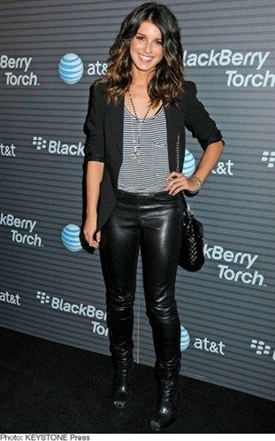 shenae grimes floral with leather | Shenae Grimes's leather leggings - As Seen On...