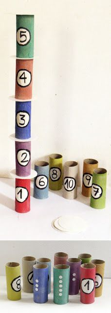 Tower of numbers. Cut cardboard circles to place between tubes to help keep the tower balanced.