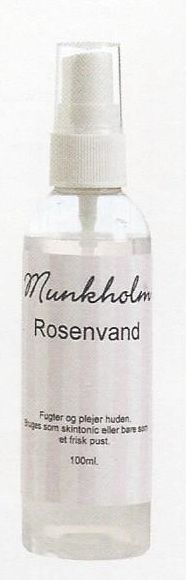 Rosenvand SkinStonic fra Munkholm. Rosenvand  Fugter og plejer huden.  Bruges som skintonic eller bare som et frisk pust i sommer varmen.  Rosenvand har været brugt i århundrede til at forskønne huden med.  Den er særdeles god til tør hud da de ægte rosen olier fugter huden.  Den kan også bruges som et forfriskende pust i håret.