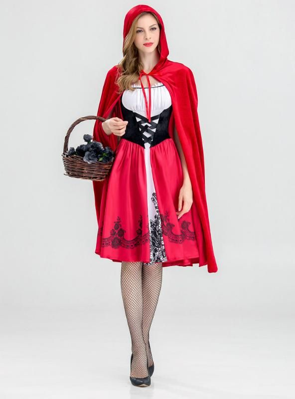 Baby Girls Red Riding Hood Maid Costume Cape Cloak Halloween Party Dress up