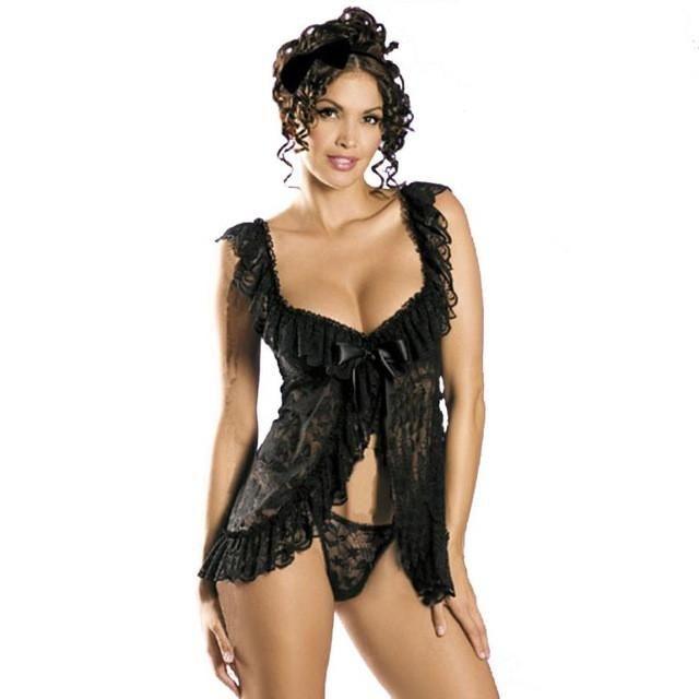 Ladies Women Sexy Lingerie Underwear Sleepwear Nightwear Dress G-String Temptation Black White Plus Size S~6XL #LSN