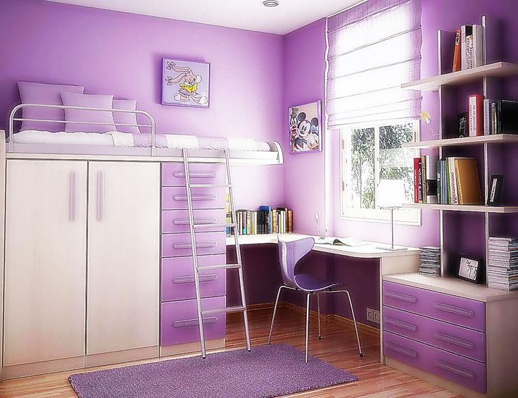 Modern Furniture For Small Bedroom Spaces Home With Interior Purple Wall Color Bunk Beds And L Shaped Study Desk Also Bookshelves As Well. kid room decor. wall decals for kids rooms. the kids from room 402.