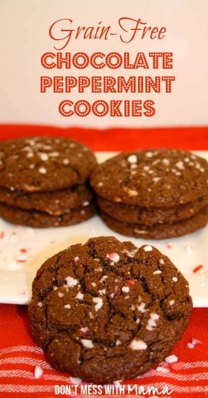 Grain-Free, Sugar-Free Chocolate Peppermint Cookies  - DontMesswithMama.com