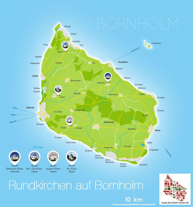Karte der Rundkirchen auf Bornholm #rundkirche #bornholm #kirche #infografik #karte #østerlars #olsker #nylars #nyker