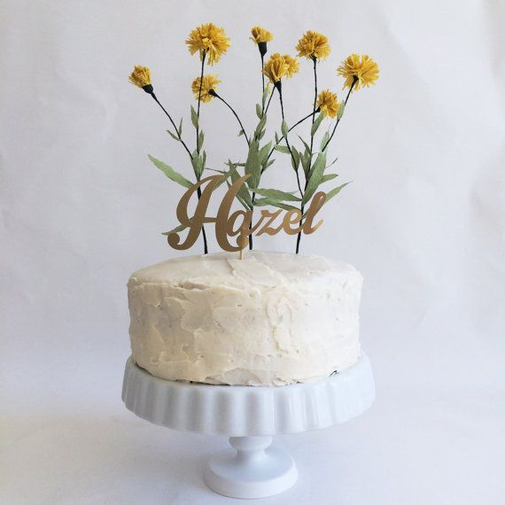 Personalized Yellow Wildflower Cake Topper by WonderfulCollective, $68.00