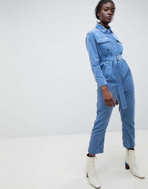 16085aacf714 ASOS WHITE cord utility jumpsuit in Blue  103.00