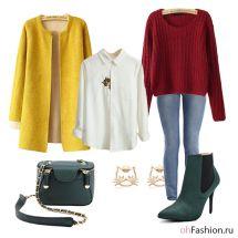 белая рубашка с котэ, желтый плащ, зеленая сумка