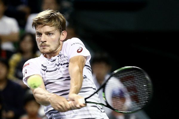 David Goffin Photos Photos - David Goffin of Belgium plays a backhand during the men's singles final match against Nick Kyrgios of Australia on day seven of Rakuten Open 2016 at Ariake Colosseum on October 9, 2016 in Tokyo, Japan. - Rakuten Open 2016 - Day 7