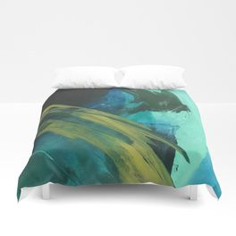 Align: a bold, abstract minimal piece in blues and greens Duvet Cover