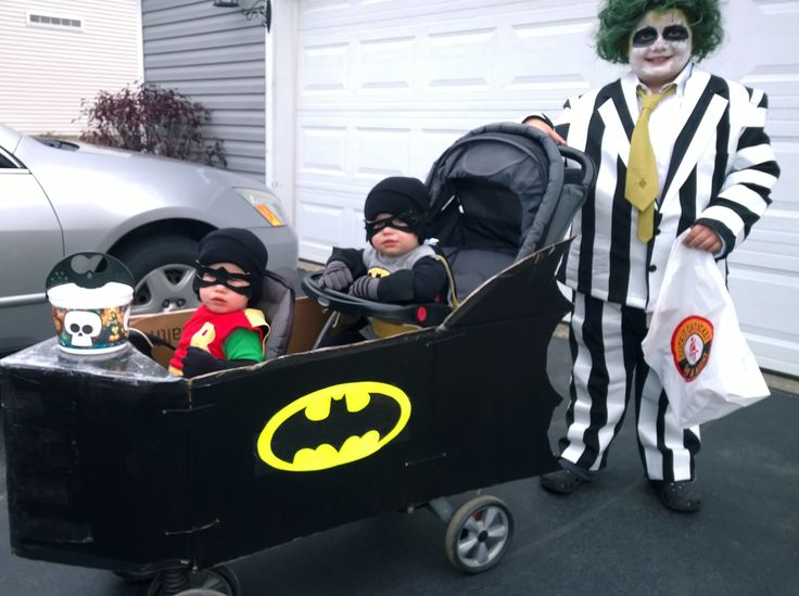 Bat man and robin twin Costumes using t-shirts and pjs, and stroller bat mobile