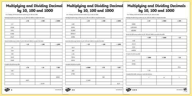 Multiplying And Dividing Decimals 10 100 1000 Worksheet