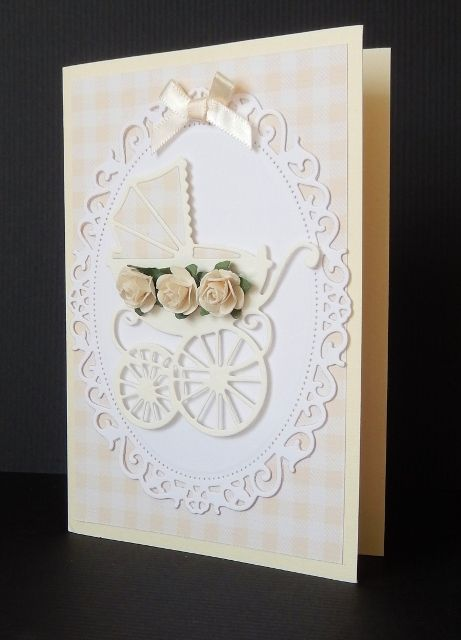 By Sandma - Baby card using Marianne Pram die on Spellbinders decorative Oval.