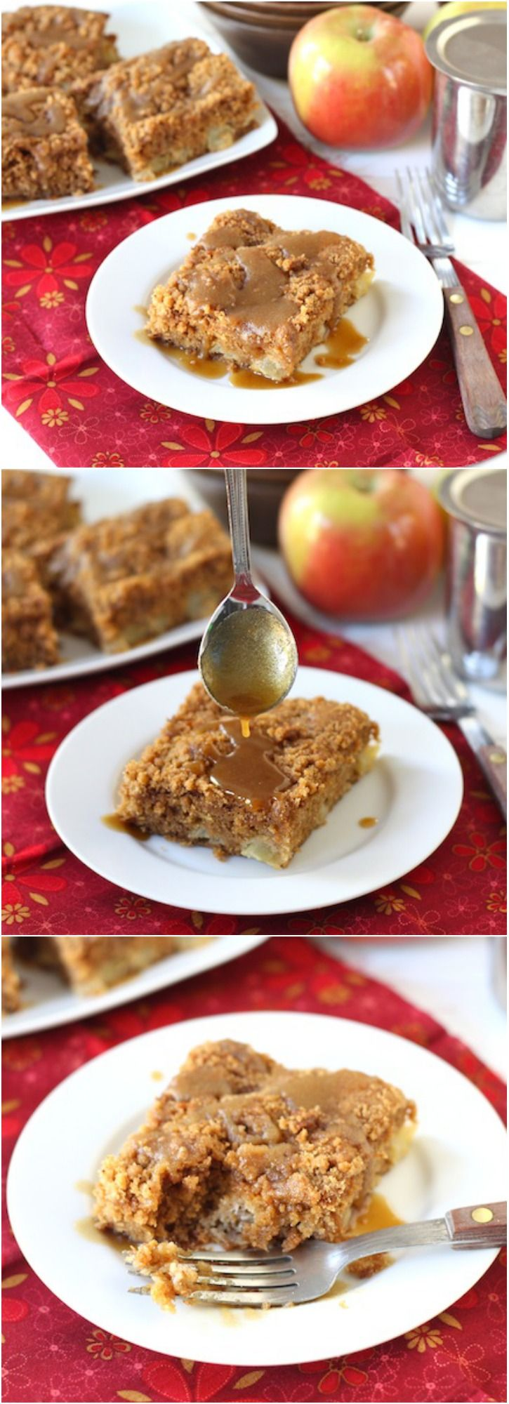 Apple Coffee Crumb Cake with Brown Sugar Glaze on twopeasandtheirpod ...