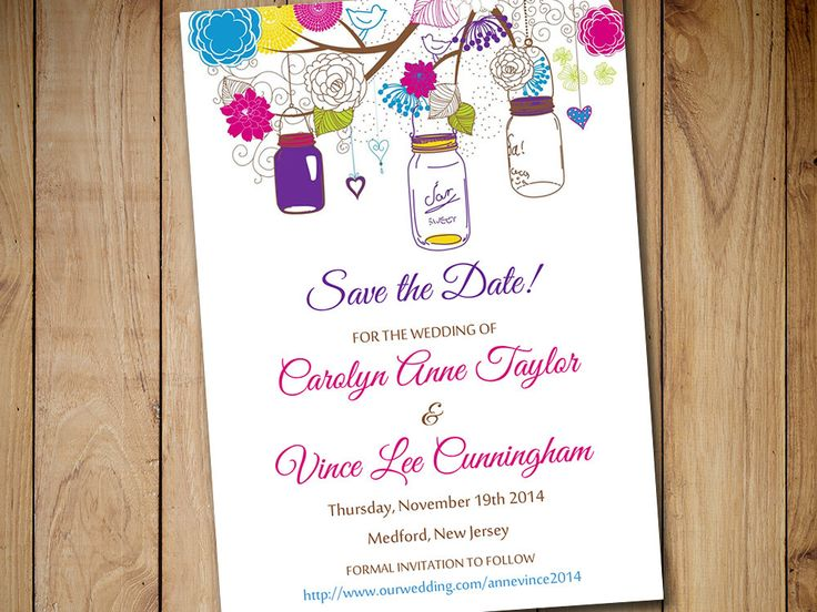 Mason Jar Save the Date Template | Mason Jar Wedding Announcement Electric Fuchsia Grape Lime Lemon Robins Egg Blue | Rustic Save the Date by PaintTheDayDesigns on Etsy