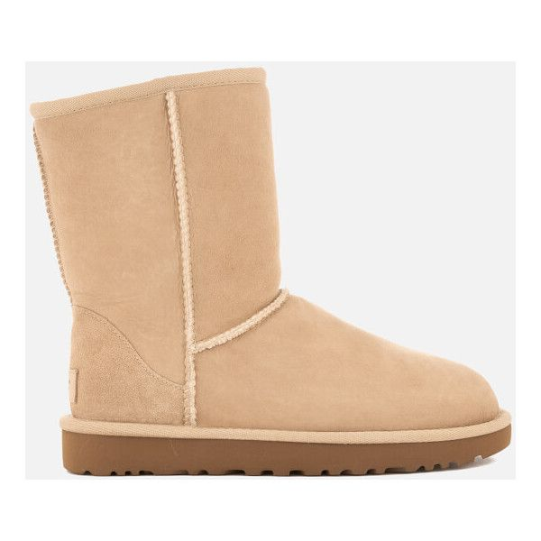 UGG Women's Classic Short II Sheepskin Boots ($165) ❤ liked on Polyvore featuring shoes, boots, ankle booties, ankle boots, beige, short ankle boots, sheepskin boots, beige ankle boots, ugg booties and beige booties