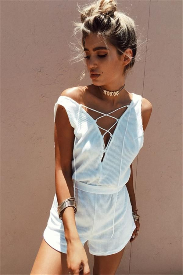 Summer V-neck Print Short Sleeve Slim Ladies Romper