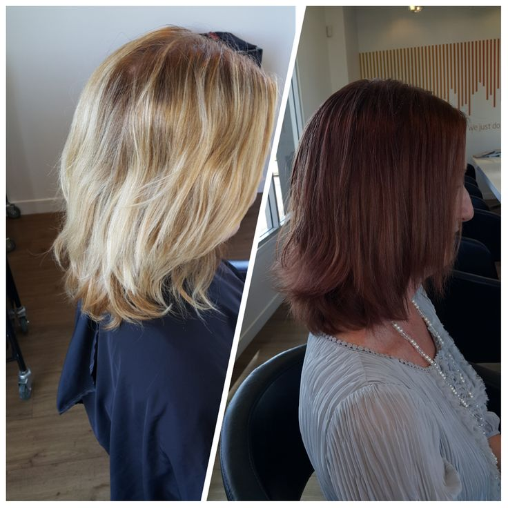 """#Newwomen. We have so many clients wanting to go from brunette to blonde, but this client wanted to go from blonde to brunette. """"Why not, give it a go"""" we said. Change is as good as any! You will never know until you try. Now she can experiment more with darker lipsticks, makeup and different hair styles. She also has a more mature (in a good way) serious sophisticated cool look about her. We love it! Colour by Amanda - Hue Albany -  Hair Salon Auckland"""