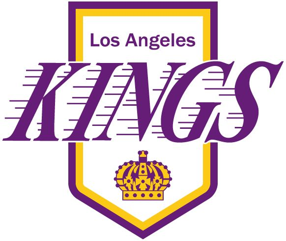 Los Angeles Kings Logo - Kings in purple with streaks to the left above a purple and yellow crown on a purple and white pennant (SportsLogos.Net)