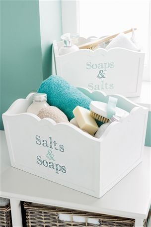Salts and Soaps bathroom storage boxes