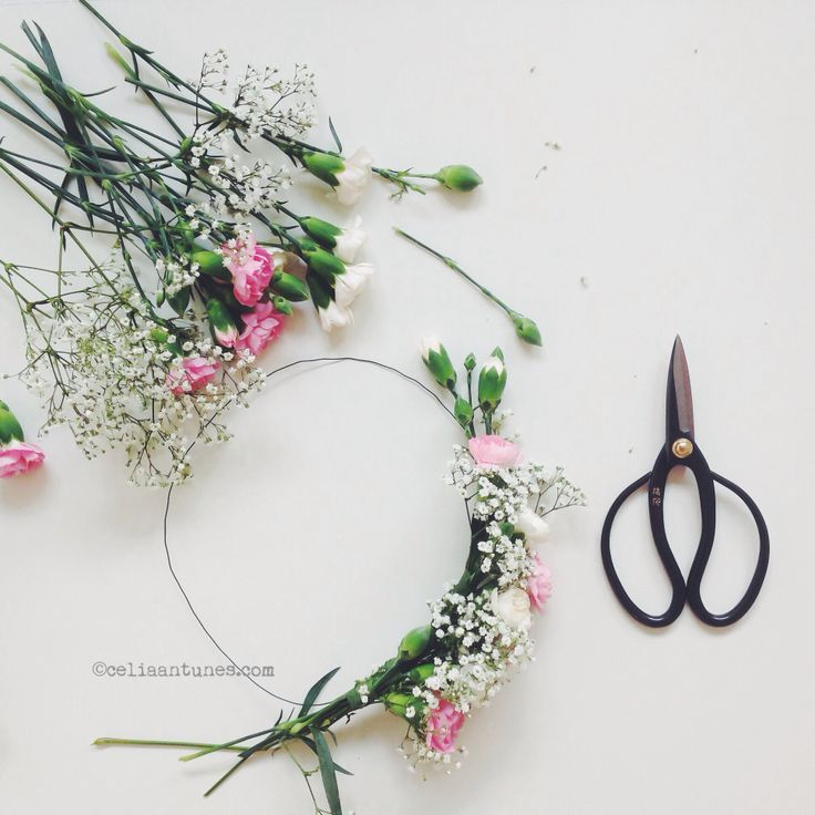 Just started a floral hair wreath... result coming soon