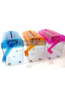 mini paper shredder adalah Penghancur kertas manual merupakan alat penghancur kertas yang  pas untuk dipakai kalangan pribadi. Efektif untuk menghancurkan kertas2 atau dokumen yang tidak terpakai, diputar manual dengan tangan, kertas hancur dengan rapi menjadi lembaran2 pita kecil, dan bisa dimanfaatkan untuk packing/melindungi barang dalam pengiriman.