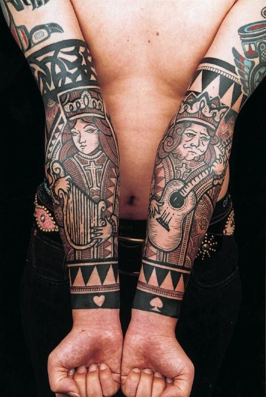 King & Queen playing card tattoo (black and white)