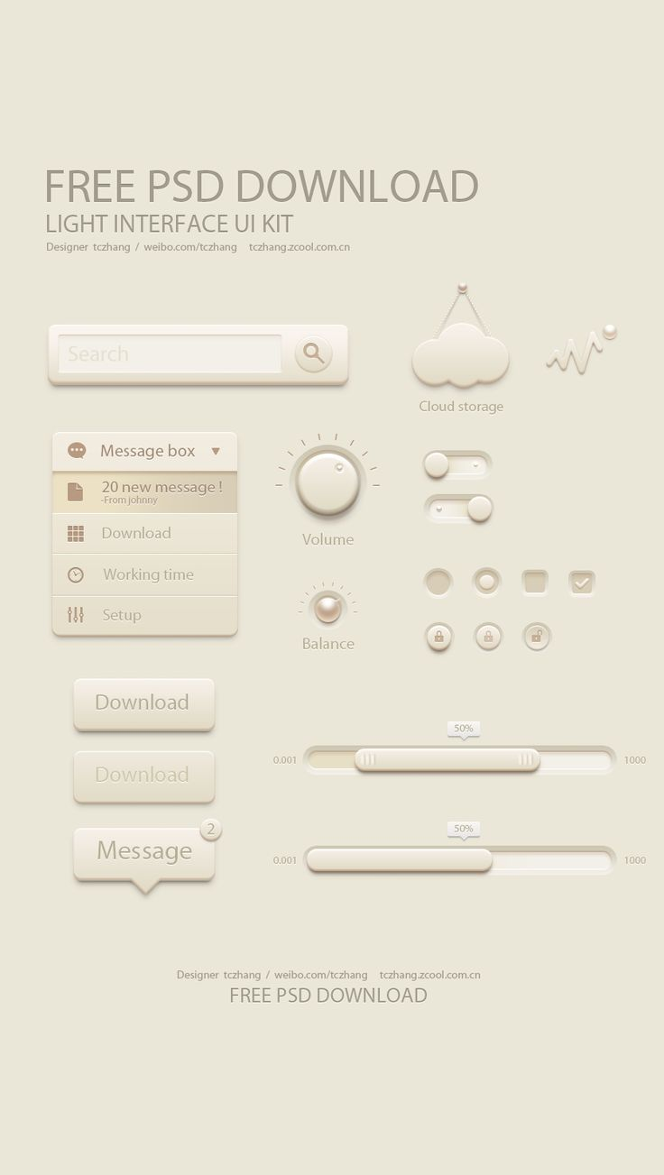 Free Light UI Kit - love the pearls.