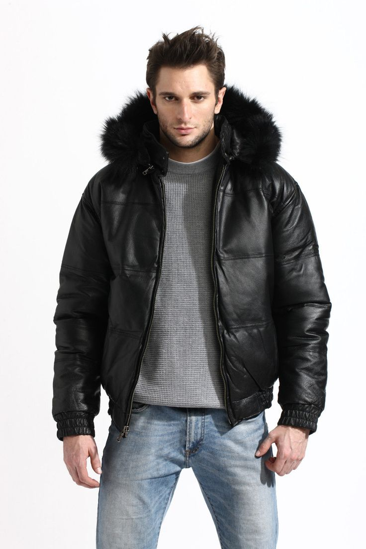 Mens Genuine Leather Bubble Bomber Jacket Snorkel