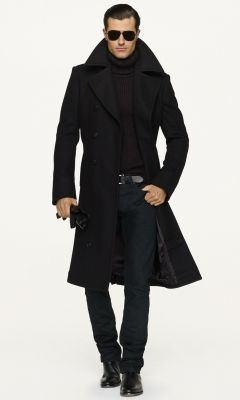 Wool Officer's Coat - Black Label Denim Cloth - RalphLauren.com #mensfashion #coats