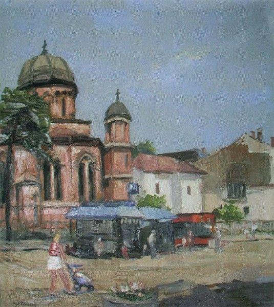 George Vlăescu - Imagini din Cetatea Banilor - painting in full format at www.iCraiova.com