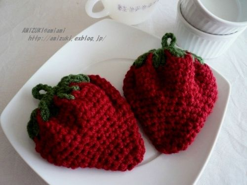 How to make ichigo - strawberry- dish washing sponge of acrylic yarn イチゴのアクリルたわしの作り方|編み物|編み物・手芸・ソーイング | アトリエ