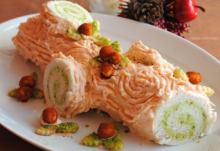 tronchetto salato al salmone e pistacchi, senza cottura