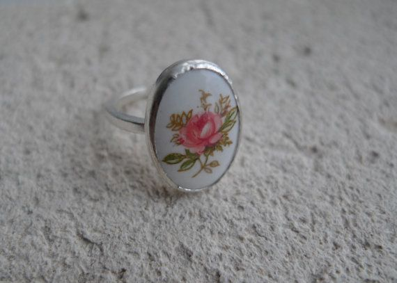 Painted Porcelain Flower Lost and Found by SlashpileDesigns, $82.00  This ring features a beautiful flower painted on porcelain, set in a bezel setting.