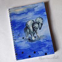 Elefánt lábnyomokkal spirálfüzet kézzel festve #akvarell #design #füzet #művészet