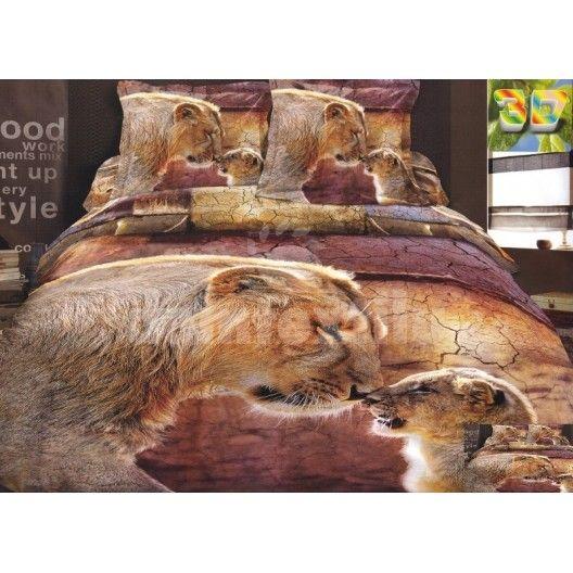 Hnedá bavlnená posteľná súprava obliečok s motívom levov
