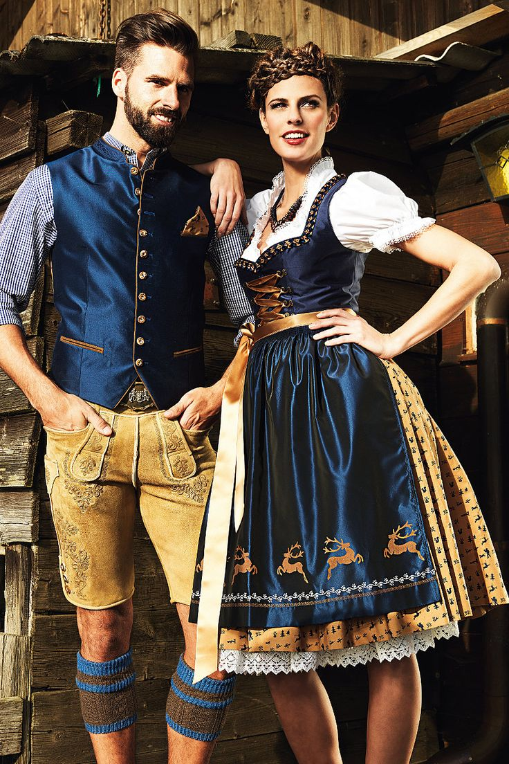 Dirndl Sihl buy with silk bodice in Night Blue / Camel in costumes Angermaier online