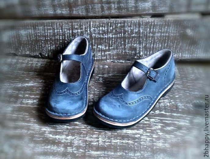 Купить Кожаные туфли Куда уходит детство...серо-синие - голубой, туфли