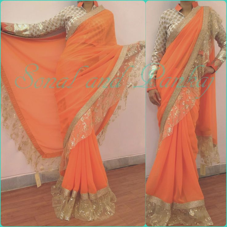 Yet another  classy  drape  tangy  orange with  fril border extensions n stitched blouse No resellers No CodInbox for prices and bookings or whatsapp at +919669166763  06 November 2016